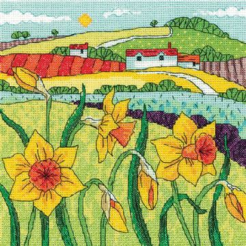 Heritage Crafts Karen Carter Collection Cross Stitch Kit - Daffodil  Landscape
